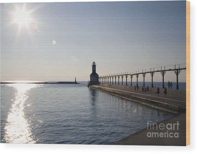 Lake Michigan Wood Print featuring the photograph Sunset On Lake Michigan by Jeannie Burleson