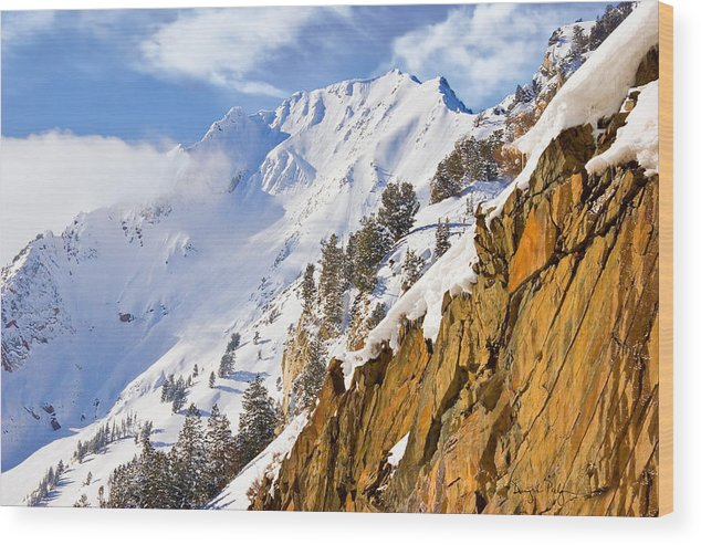 Superior Peak Wood Print featuring the photograph Superior Peak In The Utah Wasatch Mountains by Douglas Pulsipher
