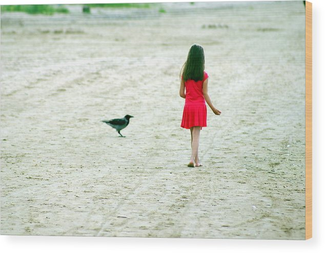 Coast Wood Print featuring the photograph The Girl And The Raven by Vadim Grabbe