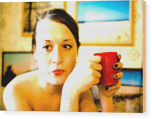 The Girl Wood Print featuring the photograph The Girl With A Red Cup by Vadim Grabbe