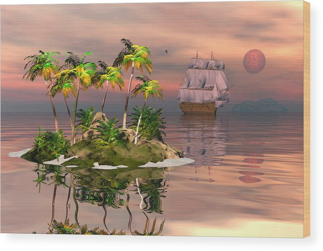 Bryce Wood Print featuring the digital art Tropical Discovery by Claude McCoy