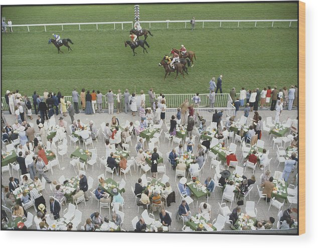 Horse Wood Print featuring the photograph Racing At Baden-baden by Slim Aarons