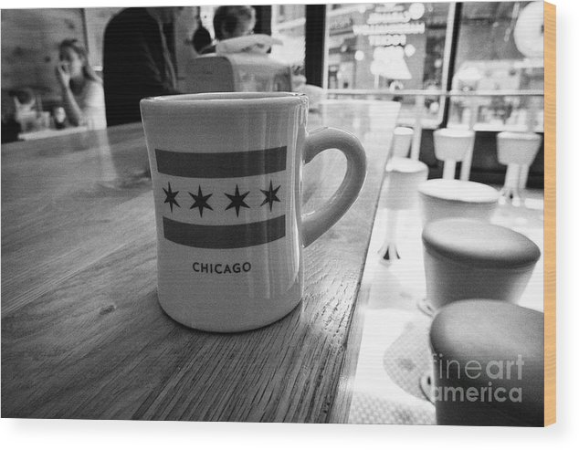 Chicago Wood Print featuring the photograph mug of coffee with the chicago flag in stans donuts in wicker park Chicago IL USA by Joe Fox
