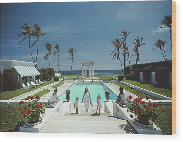 1980-1989 Wood Print featuring the photograph Neo-classical Pool by Slim Aarons