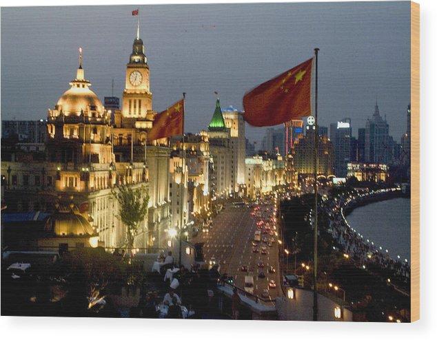 Shanghai Bund Wood Print featuring the photograph Shanghai Bund At Night by Charles Ridgway