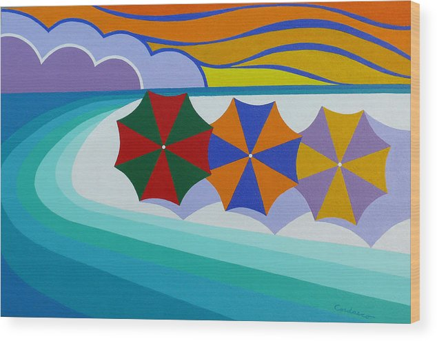 Beach Wood Print featuring the painting Umbrellas On The Beach by James Cordasco