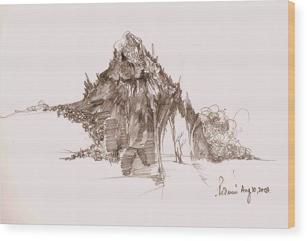 Landscape Wood Print featuring the drawing Rocks And Stones by Padamvir Singh