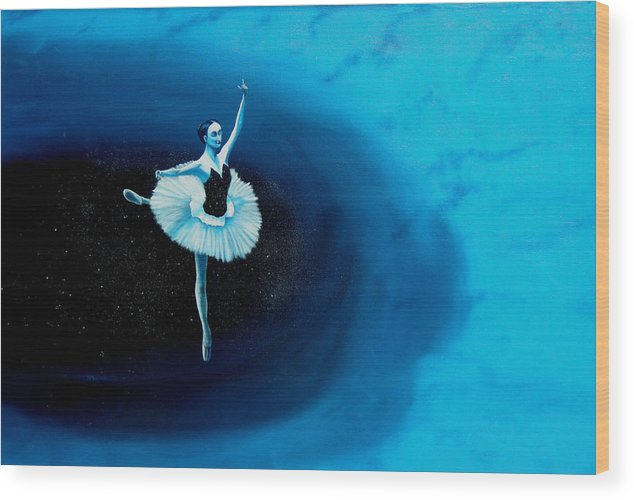 Oil Painting. Ballerina. Ballerina Dancing. Universal Balance. Surreal Impressionism Wood Print featuring the painting Balance by Ivan Rijhoff