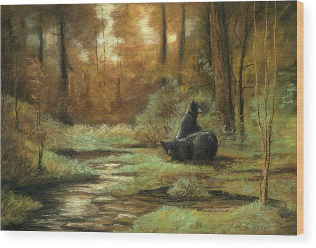 Wildlife Drawing Wood Print featuring the drawing Black Bear - Autumn by Michael Scherer