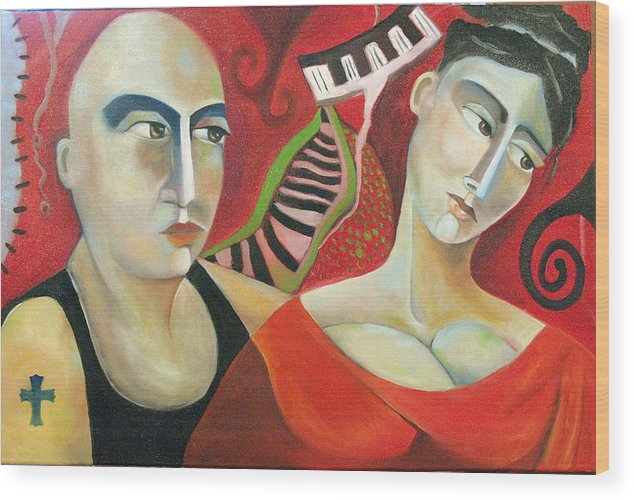 Man Woman Cubist Music Piano Red Cross Wood Print featuring the painting Corazon Pesado by Niki Sands