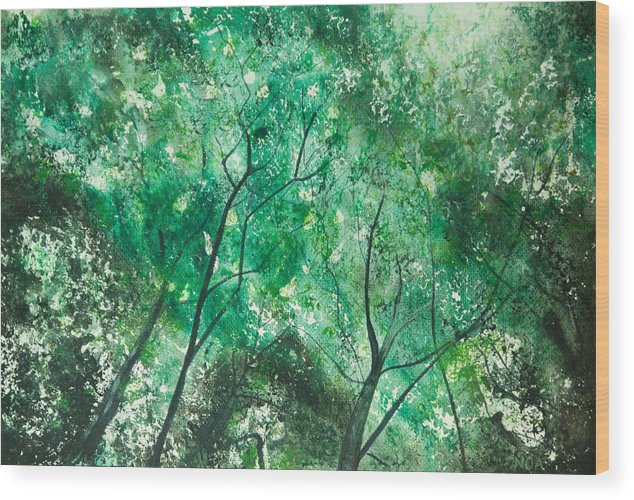 Trees Wood Print featuring the painting Divine Light by Aymeric NOA