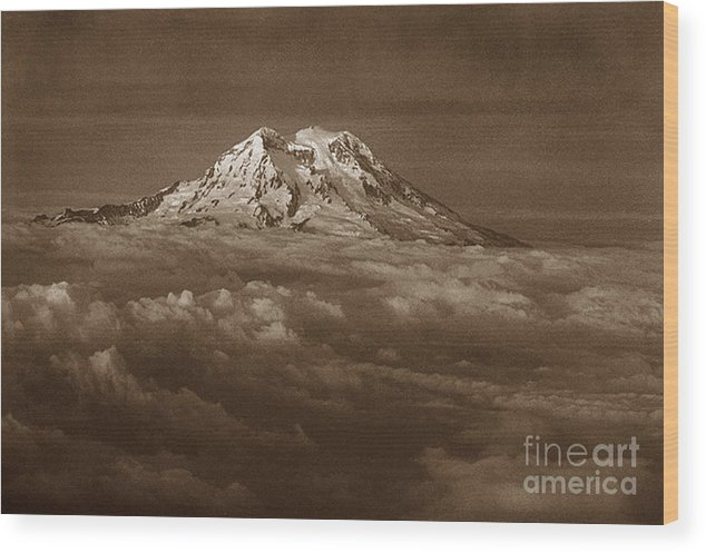 Mountains Wood Print featuring the photograph Majestic Mt. Rainier by Michael Ziegler