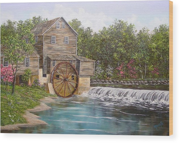 Landscape Wood Print featuring the painting Pigeon Forge Mill by Marveta Foutch