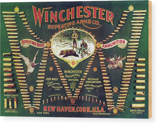 Cartridges Wood Print featuring the painting Winchester Double W Cartridge Board by Unknown