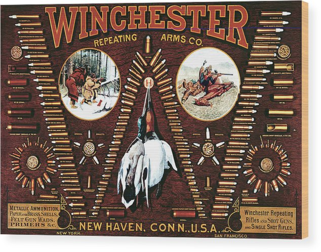 Outdoor Wood Print featuring the painting Winchester W Cartridge Board by Unknown
