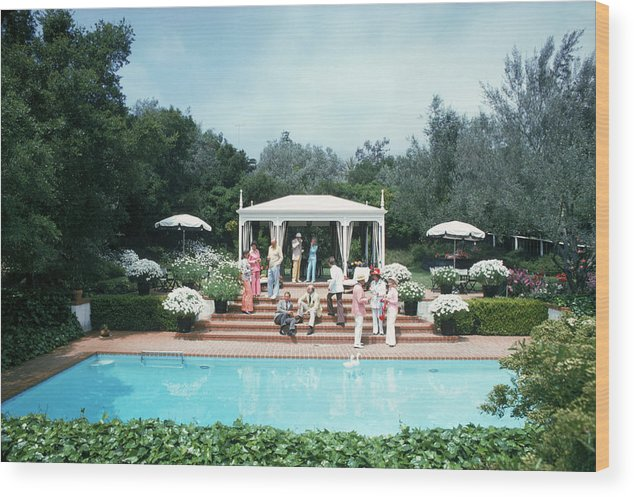 People Wood Print featuring the photograph California Pool Party by Slim Aarons