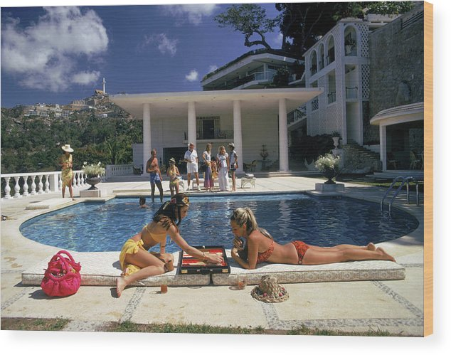 People Wood Print featuring the photograph Poolside Backgammon by Slim Aarons