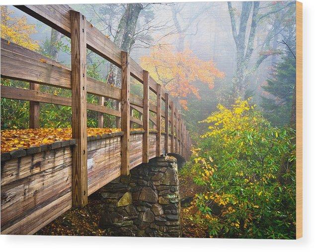 Rough Ridge Wood Print featuring the photograph Tanawha Trail Foot Bridge - Rough Ridge Autumn Foliage Nc by Dave Allen