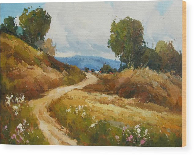 Landscape Wood Print featuring the painting Back Roads by Imagine Art Works Studio