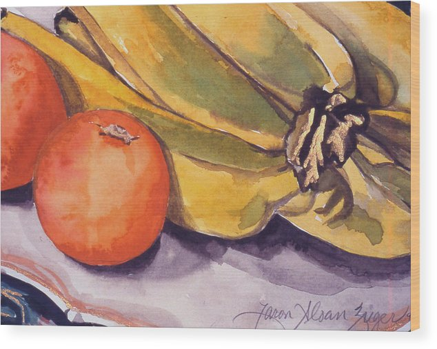 Still-life Wood Print featuring the painting Bananas And Blood Oranges Still-life by Caron Sloan Zuger