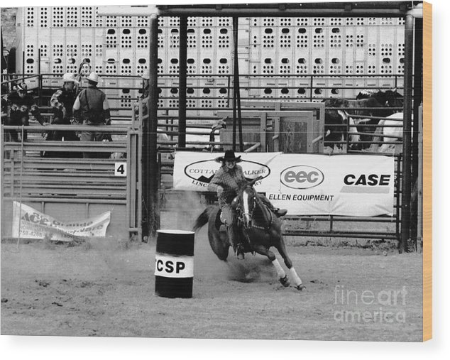 Rodeo Wood Print featuring the photograph Barrel Racer by Susan Chandler
