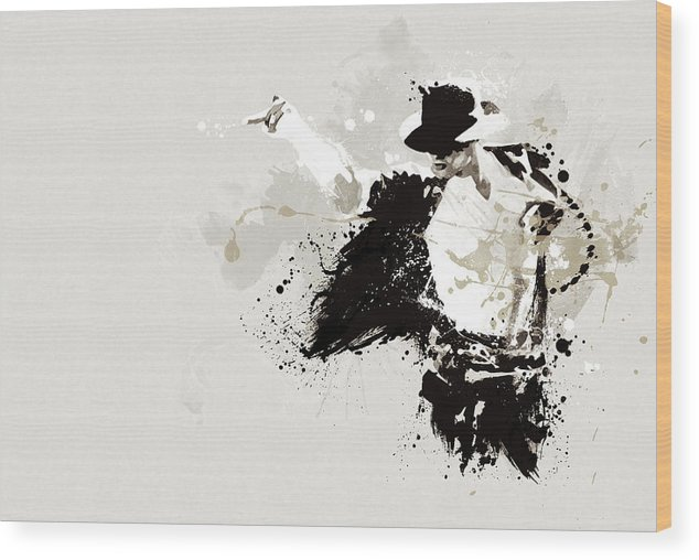 Micahel Jackson Wood Print featuring the painting Michael Jackson by Laurence Adamson