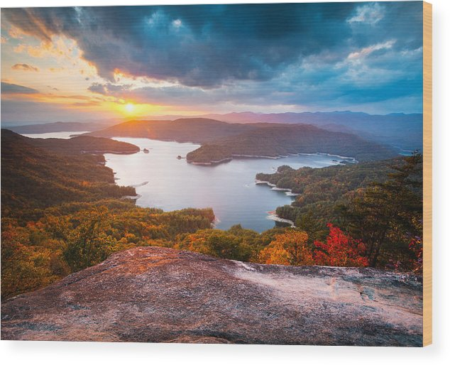 Blue Ridge Mountains Wood Print featuring the photograph Blue Ridge Mountains Sunset - Lake Jocassee Gold by Dave Allen