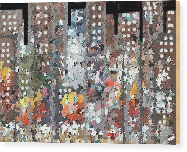 Abstract Wood Print featuring the painting A Night In Chicago by Don Phillips