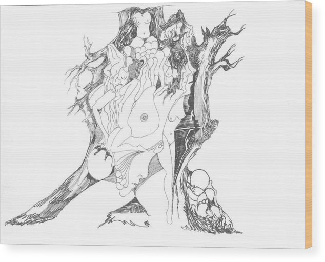 Surreal Wood Print featuring the drawing A Tree Human Forms And Some Rocks by Padamvir Singh