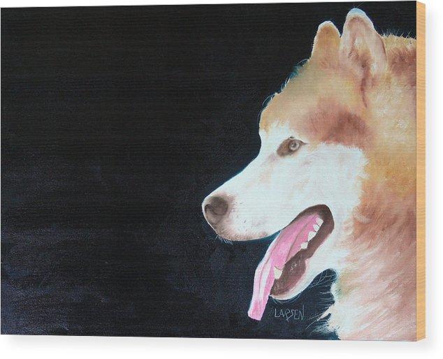 Wood Print featuring the painting Alaskan Malamute by Dick Larsen