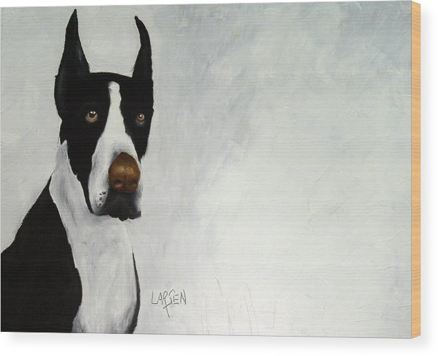 Wood Print featuring the painting Great Dane by Dick Larsen