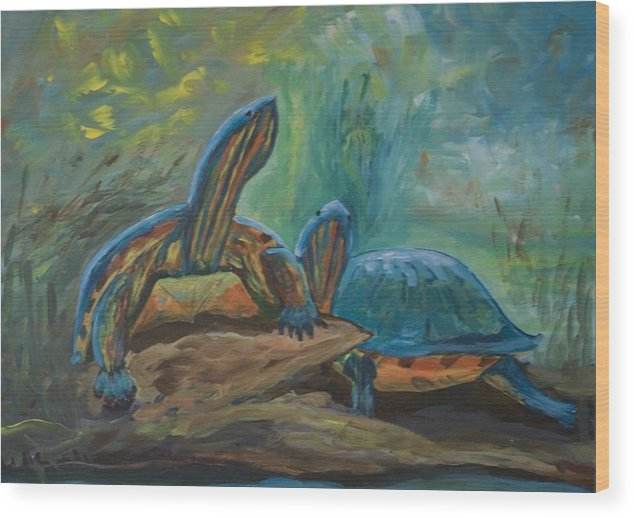 Turtles Wood Print featuring the painting Lagoon Turtles by Anita Wann