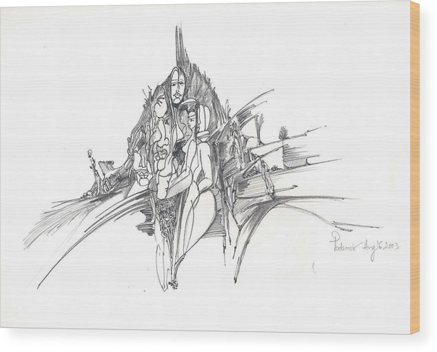 Man Wood Print featuring the drawing Lines Of Integration by Padamvir Singh