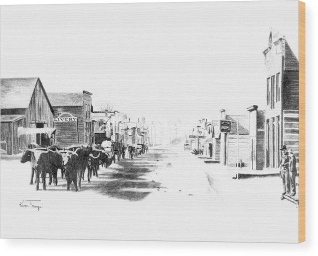 Western Wood Print featuring the drawing Miles City 1883 by Karen Elkan