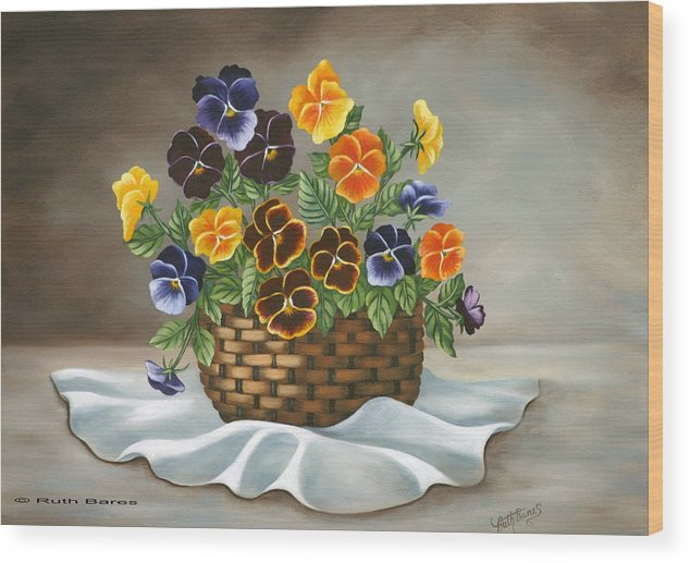 Floral Wood Print featuring the painting Pansy Basket by Ruth Bares