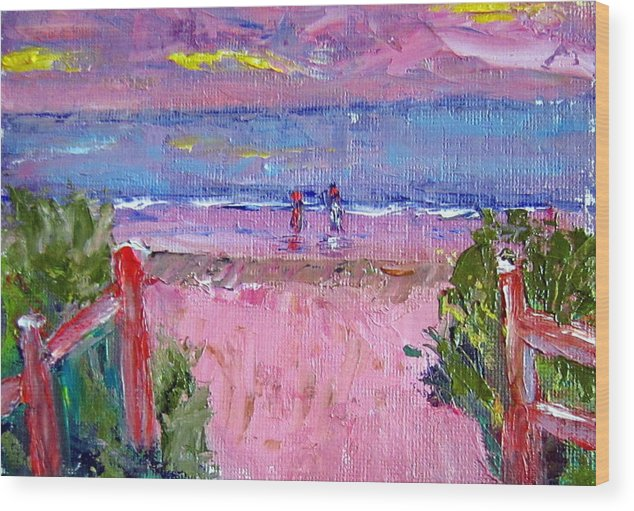 Beach Wood Print featuring the painting Path To The Beach by Lia Marsman