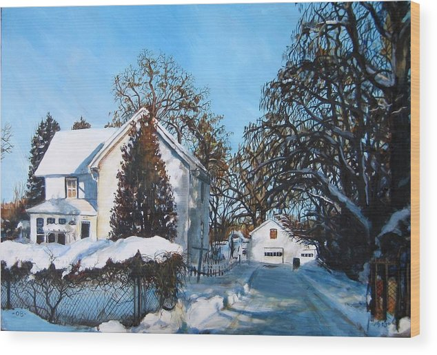 Landscape Wood Print featuring the painting Winter Drive by William Brody