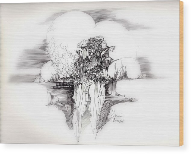Surreal Wood Print featuring the drawing Women Rocks And Clouds by Padamvir Singh