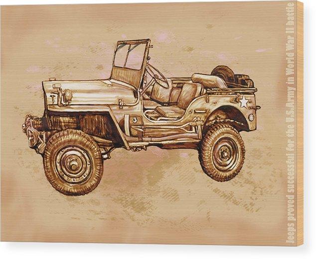 Us Army Jeep In World War 2 - Stylised Modern Drawing Art Sketch Wood Print featuring the drawing Us Army Jeep In World War 2 - Stylised Modern Drawing Art Sketch by Kim Wang