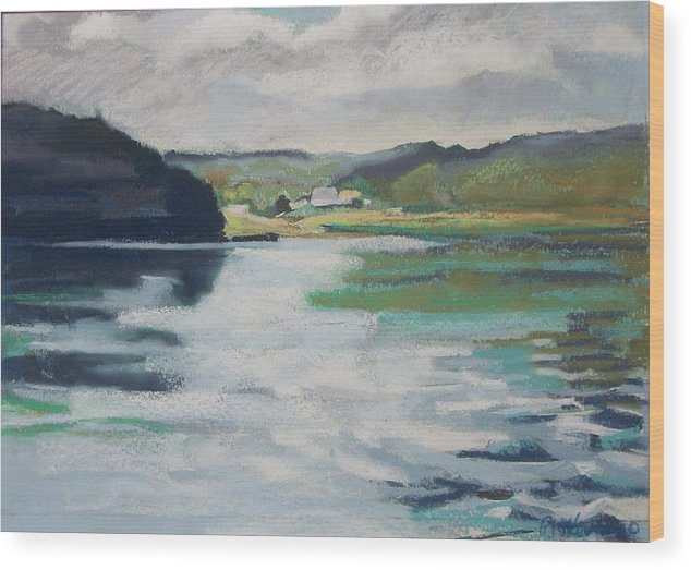 River Bend Wood Print featuring the pastel Just Around The Bend by Grace Keown