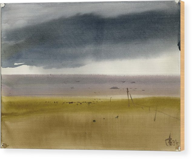 Russian Wood Print featuring the painting Gulf Of Finand by Vyacheslav Glazkov