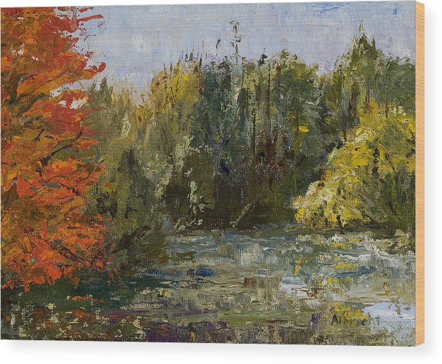 Morton Arboretum Scene Wood Print featuring the painting Autumn Pond by Nancy Albrecht