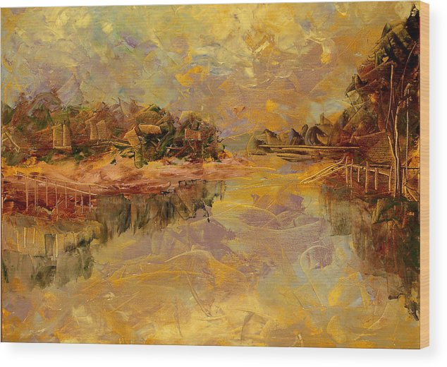 Landscape Wood Print featuring the painting Bass River by Olga Gernovski