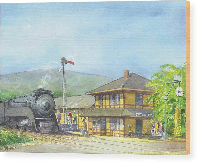 Trains Wood Print featuring the painting Carpinteria Train Depot by Ray Cole