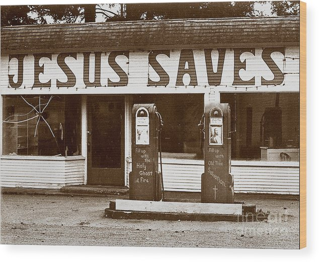 Jesus Wood Print featuring the photograph Jesus Saves 1973 by Michael Ziegler