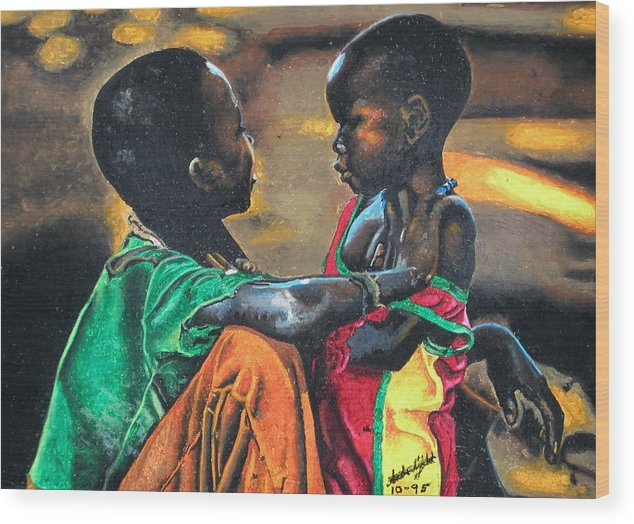 Black Art Wood Print featuring the pastel My Brothers Keeper by Andre Ajibade