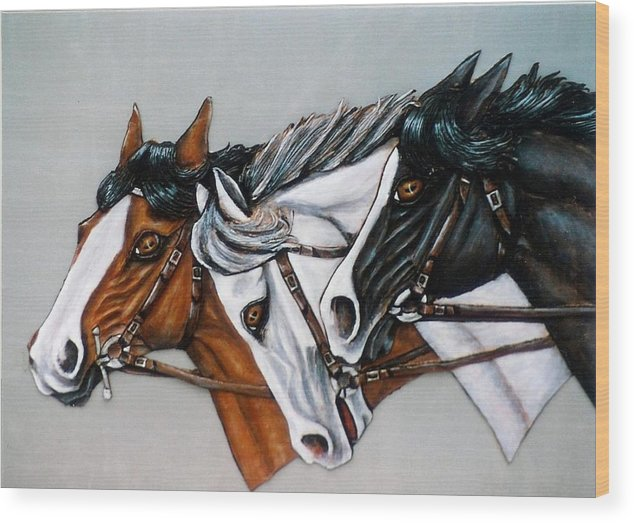 Horses Wood Print featuring the painting The Winner Is. by Lilly King