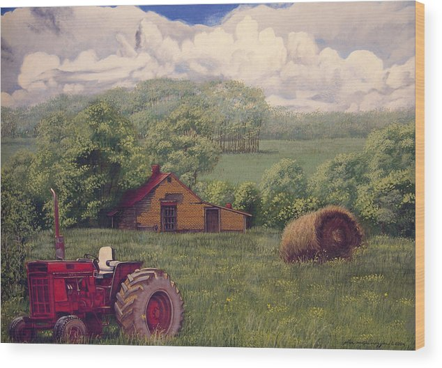 Landscape Wood Print featuring the painting Idle In Godfrey Georgia by Peter Muzyka