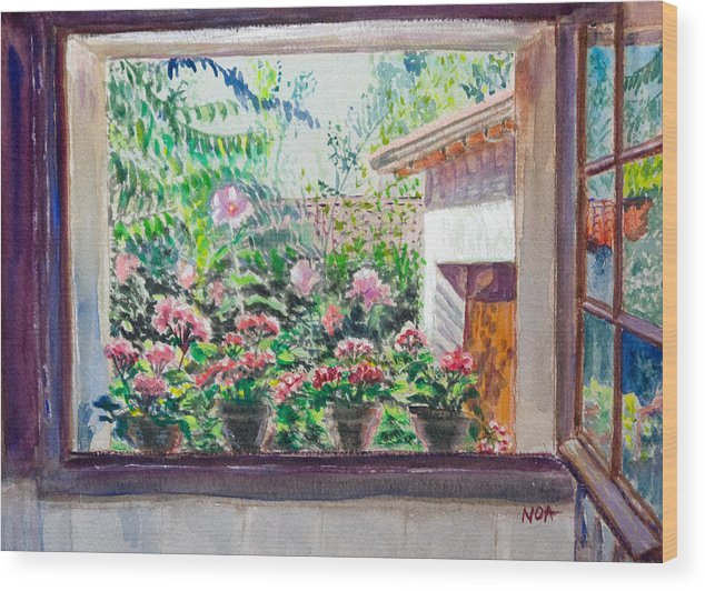 Window Wood Print featuring the painting In The Bathroom by Aymeric NOA