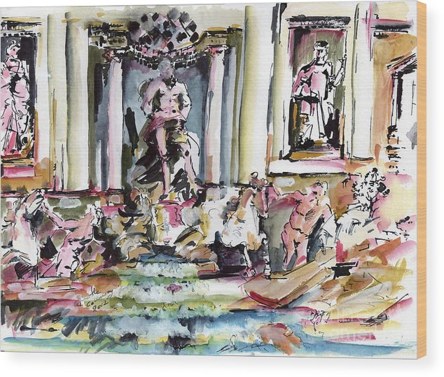 Italy Wood Print featuring the painting Trevi Fountain Rome Italy by Ginette Callaway